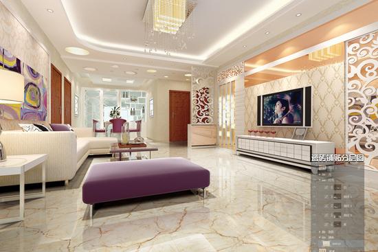 客厅瓷砖装修效果图图片