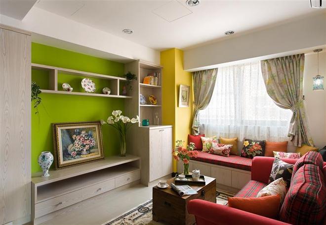 58平米装修效果图(客厅)-58平米简约小户型大变身 阳台成清新小花园